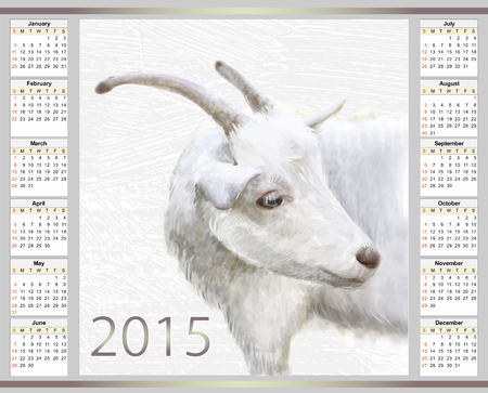 calendar for 2015 with the goat Vector