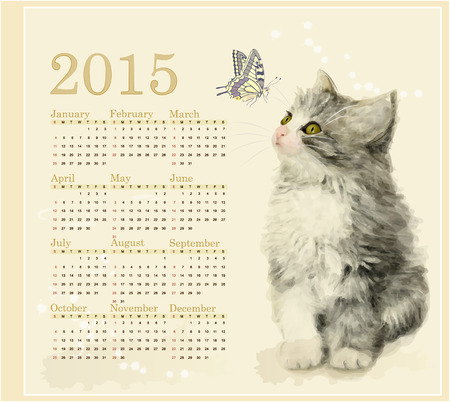 Calendar 2015 with fluffy kitten and butterfly Vector