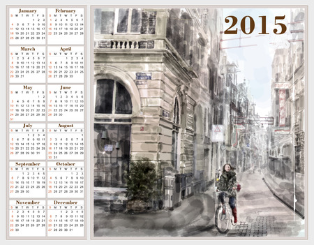Calendar 2015 with illustration of city street.  Watercolor style. Vector