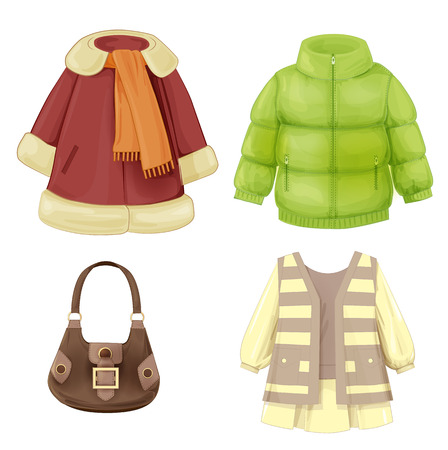 set of seasonal clothes for girls. Coat, dress, padded parka and bag. Vector
