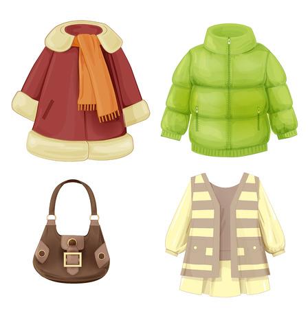 chaqueta: un conjunto de ropa de temporada para las ni�as. Abrigo, vestido, parka y bolsa acolchada. Vectores