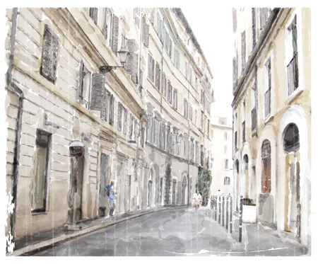italy street: watercolor illustration of city scape.
