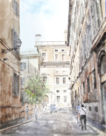 aquarelle painting art: watercolor illustration of city scape Illustration