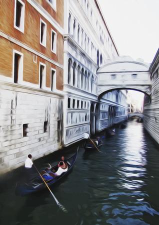 gondolier: illustration of Venetian canal. Italy. Illustration