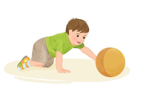 guardería: lindo bebé jugando con la pelota