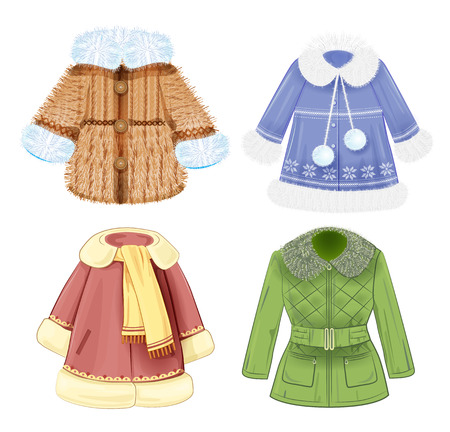 seasonal clothes: set of winter clothes for children Illustration