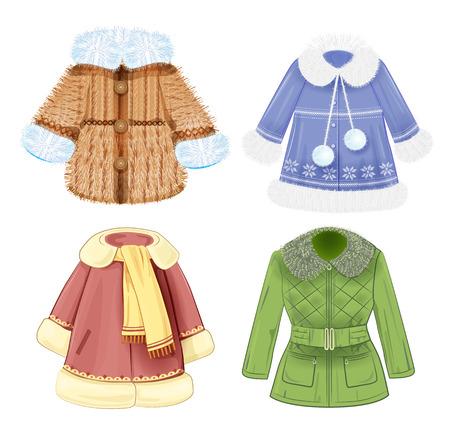 padded: set of winter clothes for children Illustration