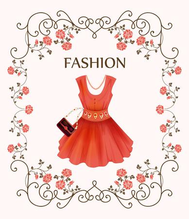 red dress: vintage label with red dress Illustration