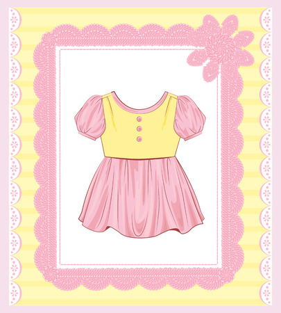 frock: background with  dress for baby girl Illustration