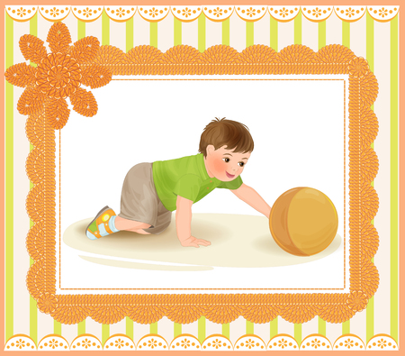 baby stickers: cute baby playing with ball Illustration