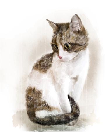 watercolor portrait of the cat
