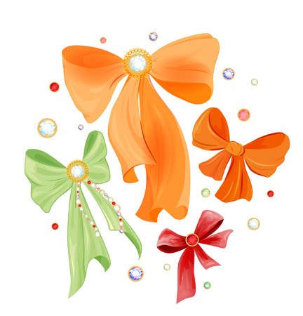 strass: set of colorful gift bows Illustration