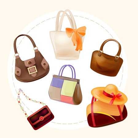 leather goods: set of handbags for all occasions Illustration