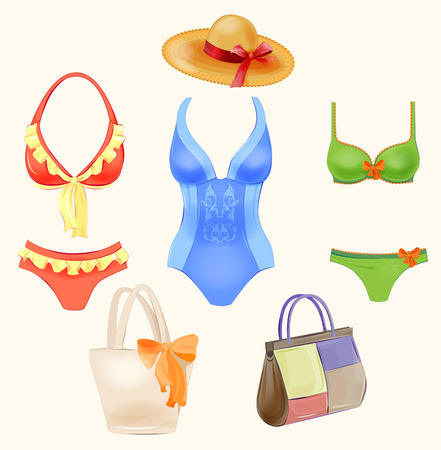 leather goods: set of swimsuits and  beach handbags