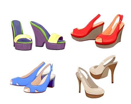 footware: fashion collection of girls shoes. Illustration