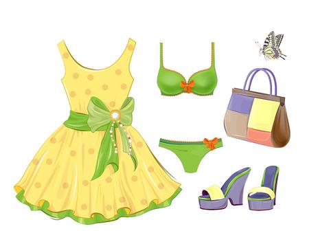 women underwear: Fashion kit for girls. Dress, handbag, bikini and sandals.
