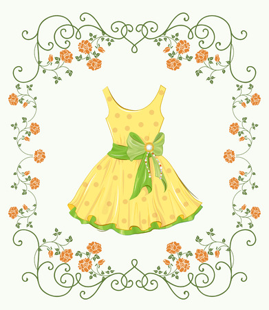 yellow dress: vintage label with yellow dress and floral frame