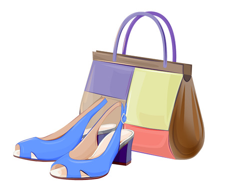 leather goods: set of handbags and shoes Illustration