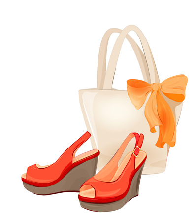 leather goods: set of  beach bag and shoes