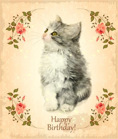 petites fleurs: Carte d'anniversaire heureux avec chaton pelucheux. Imitation de peinture à l'aquarelle. Style vintage.
