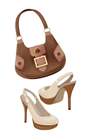 set of handbags and shoes Illustration