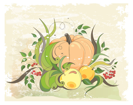autumnal: autumnal composition with pumpkin, apples and sprigs of rowan