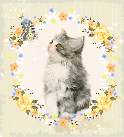 pussy: Vintage card with fluffy kitten, roses and butterfly. Imitation of watercolor painting. Illustration