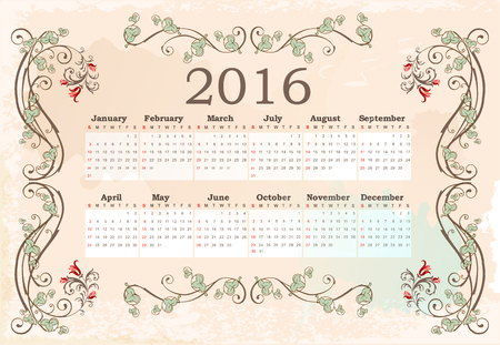 weekly planner: Calendar for 2016. Vintage style.