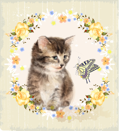 kitties: Vintage card with fluffy kitten, roses and butterfly. Imitation of watercolor painting. Illustration