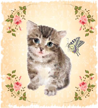 Fluffy kitten met rozen en vlinder. Vintage briefkaart. Imitatie van waterverf het schilderen.