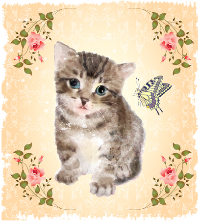 butterfly flower: Fluffy kitten with roses and butterfly.  Vintage postcard.  Imitation of watercolor painting.