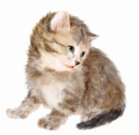 fluffy: Fluffy kitten.  Imitation of watercolor painting. Illustration