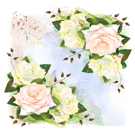 floriculture: Background with roses. Imitation of watercolor painting.