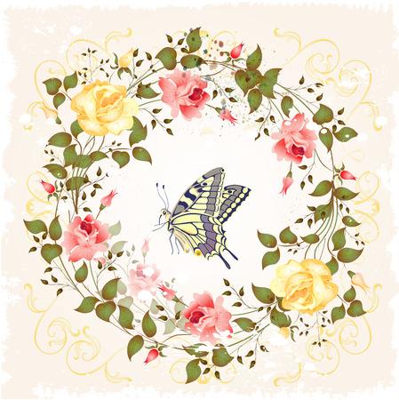 cartoline vittoriane: corona d'epoca di rose e la farfalla