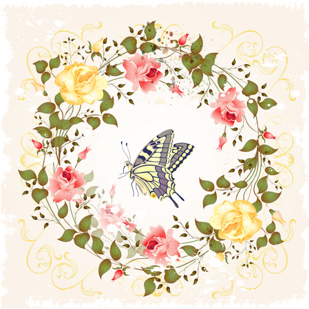 floriculture: vintage wreath of roses and butterfly
