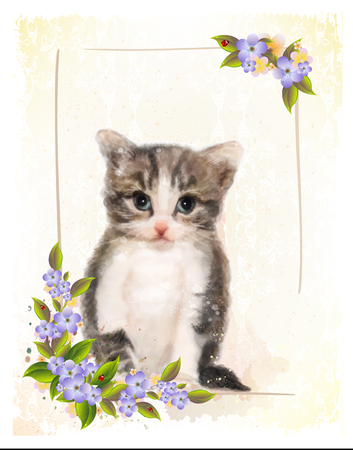 Vintage postcard with kitten. Imitation of watercolor painting. Vetores