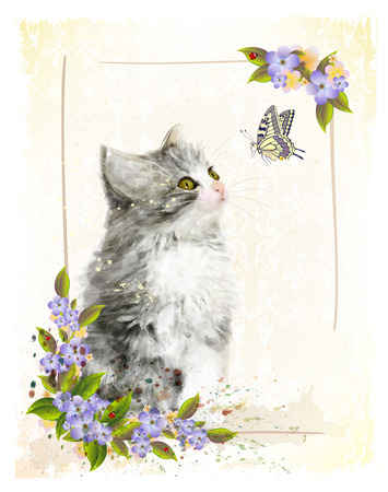 Vintage postcard with kitten. Imitation of watercolor painting.