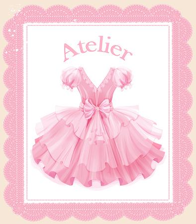 etiqueta de la vendimia con el vestido de fiesta de color rosa Ilustración de vector