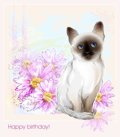 aster: birthday card with  thai kitten and gerberas Illustration
