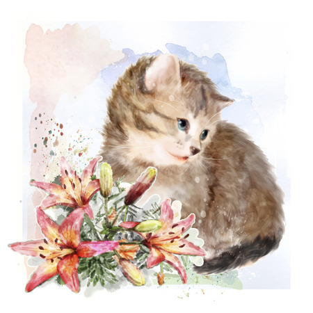 floriculture: Fluffy kitten with lilies.  Vintage postcard.  Imitation of watercolor painting.