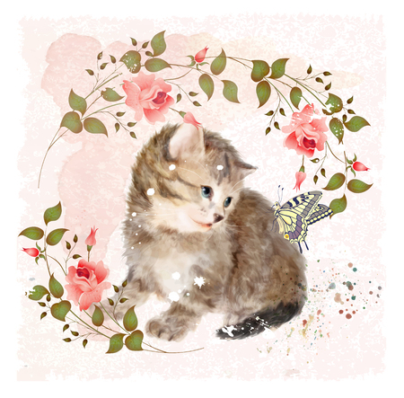 kitties: Fluffy kitten with roses and butterfly.  Vintage postcard.  Imitation of watercolor painting.