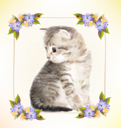 postcard: Vintage postcard with kitten.  Imitation of watercolor painting. Illustration
