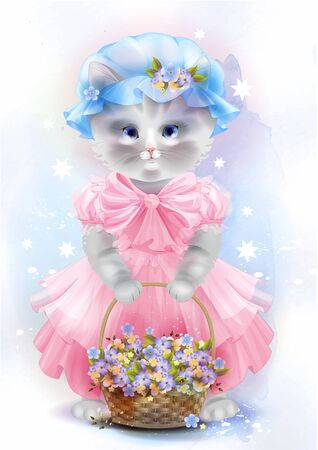 kittens: Portrait of the vintage cat  with basket. Birthday card. Holiday congratulation. Greeting card.