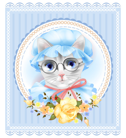 puss: Vintage portrait of the cat with glasses and roses. Victorian style. Illustration