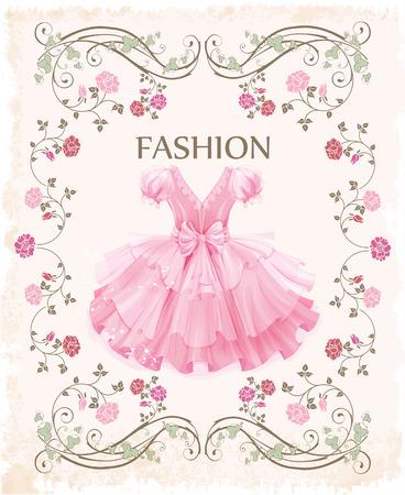etiqueta de la vendimia con el vestido rosa Ilustración de vector