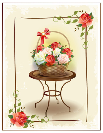 floriculture: Basket  with roses.  Vintage birthday card. Holiday congratulation. Greeting card. Floral frame. Victorian style