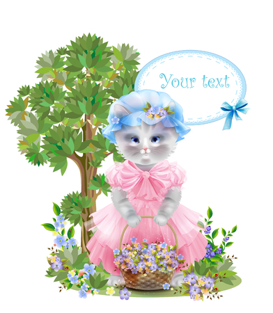 frock: Portrait of the  funny cat dressed in  the pink frock with basket full of flowers. Summer meadow. Birthday card. Holiday congratulation. Greeting card. Illustration