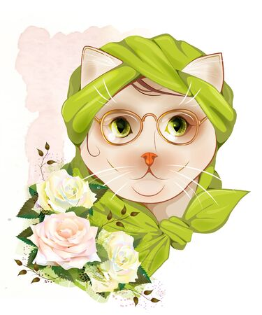 girl glasses: portrait of the hipster cat with glasses and  roses Illustration