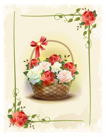 marco cumpleaños: Cesta con rosas. Vintage tarjeta de cumpleaños. felicitación de vacaciones. Tarjeta de felicitación. Marco floral. estilo victoriano