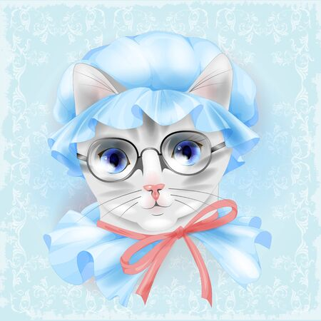 grannie: portrait of the vintage cat with glasses. Victorian style.